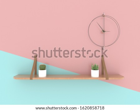Shelves made of wood installed with steel materials and leather materials. And there are clocks and cactus on the shelves, Isolated on pastel pink and blue backgrounds, illustration, 3D rendering.