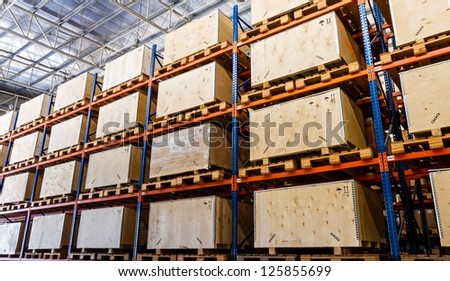 Shelves manufacturing storage in a warehouse