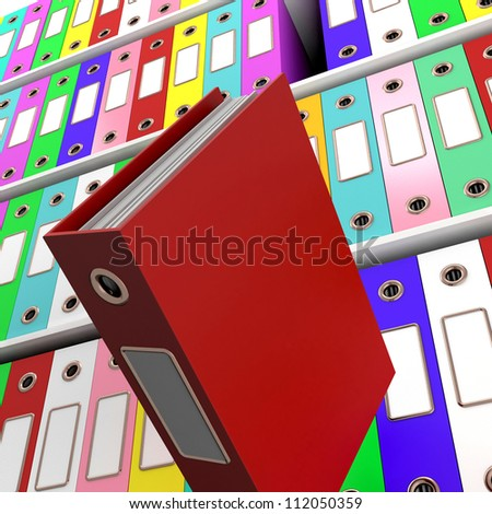 Shelves Of Files With One Falling For Getting Office Organized