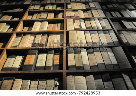shelves of paper historical...