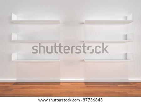 Shelves on white wall