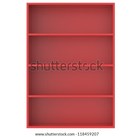Shelves, or Empty shelf unit in red