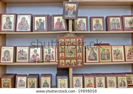 Shelves with beautiful religious icons for sale.