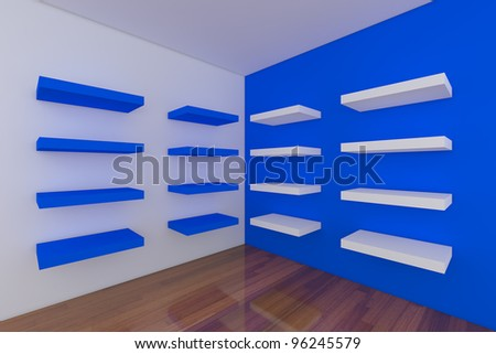 Shelves with empty blue room empty room decorated with abstract wall