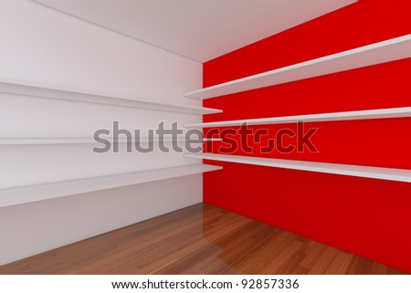 Shelves with empty room. Empty Room decorated with abstract wall and wood floor.