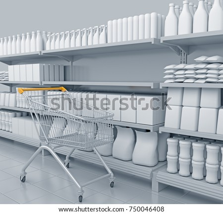 Shelves with many goods in perspective. 3D rendering