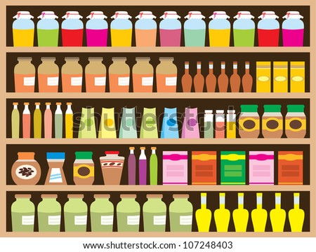 Shelves with products. Raster illustration.