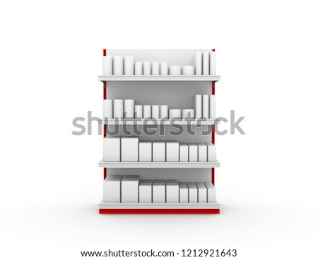 Shelves with products Red steel frame Retail shelves Supermarket stand 3d rendering #1212921643