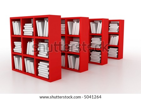 Shelvings in a library with books. 3d model
