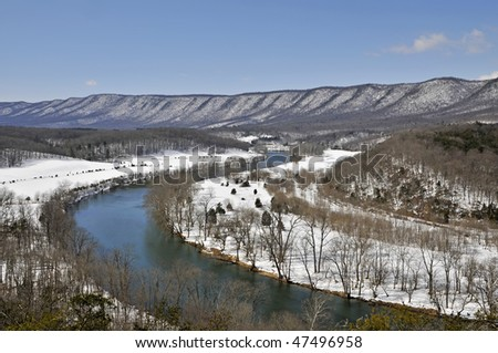 Shenandoah River in Winter Horizontal With Copy Space