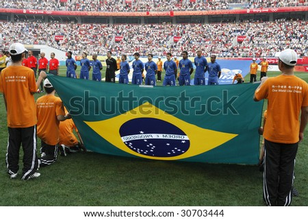 SHENYANG, CHINA - AUGUST 10:  The Brazilian team lines up for team introductions prior to a match against New Zealand at the Beijing Olympic Games soccer tournament August 10, 2008 in Shenyang, China.