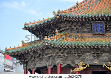 Shenyang Imperial Palace (Mukden Palace), Dazheng Hall, Shenyang, Liaoning Province, China. Dazheng Hall built in 1626 ad. Shenyang Imperial Palace is UNESCO world heritage site.