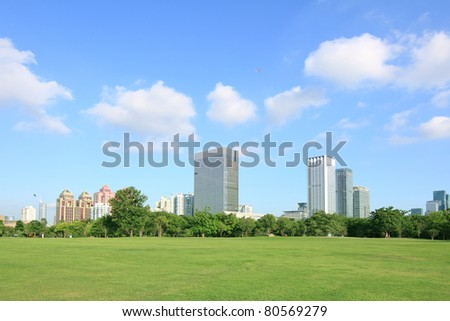 Shenzhen, China, parks and skyscrapers panorama