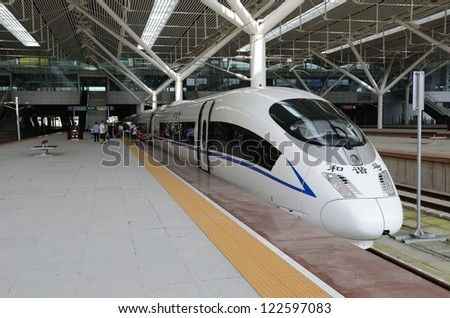 SHENZHEN, CHINA - SEPTEMBER 9:  Fast train starts from Shenzhen to Wuhan on September 9, 2012. With speed 300km/h train arrives Wuhan within 5 hours.