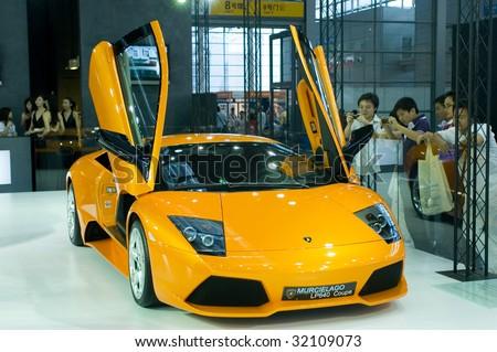 SHENZHEN - JUNE 11: A Lamborghini Murcielago LP640 Coupe car on display during Macao Car Show June 11, 2009 in Shenzhen, China.