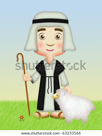 Shepherd holding staff with sheep.