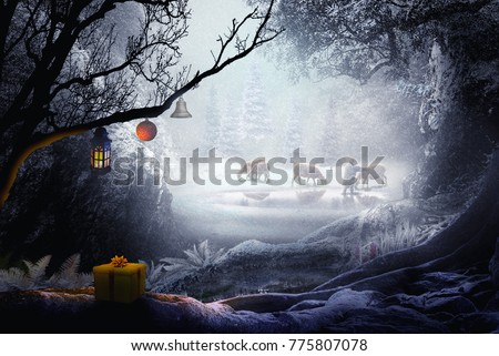 shepherd in winter landscape fantasy forest chistmas theme #775807078