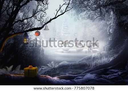 shepherd in winter landscape fantasy forest chistmas theme #775807078