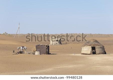 Shepherd's dwelling in Kyzyl Kum desert, Uzbekistan