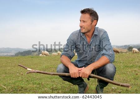 Shepherd standing in green field with sheeps