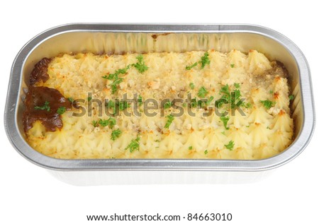 Shepherds pie convenience meal in a foil tray.