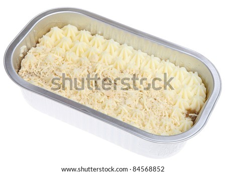 Shepherds pie convenience meal in foil container. Uncooked.