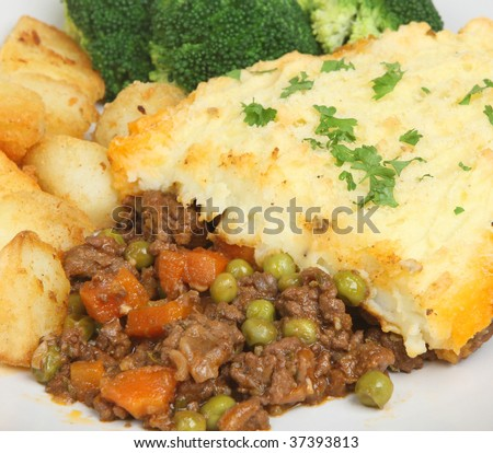 Shepherds pie with sauteed potatoes and broccoli