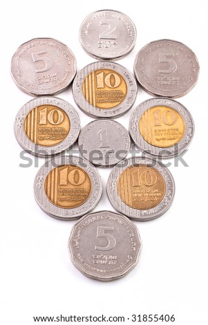Sheqel coins isolated on white background