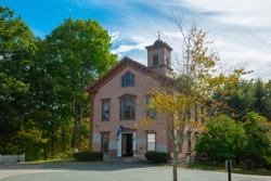 Sherborn Community Center on Washington Street in Sherborn historic town center in fall, Sherborn, Boston Metro West area, Massachusetts, USA.