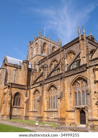 Sherborne Abbey founded by St. Aldhelm in AD 705 - stock photo