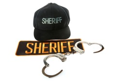 Sheriff Patch with handcuffs. Isolated on white. Room for text. Clipping path. Clip art.
