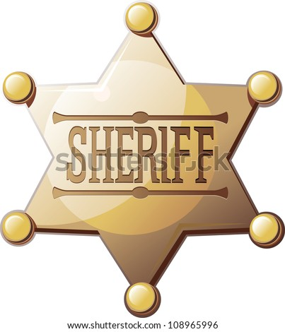 Sheriff's six pointed star on a white background with a shadow at the bottom. Raster version