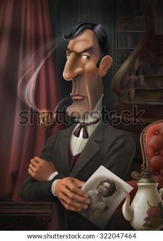 sherlock holmes smoking pipe