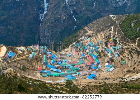 Sherpa village of Namche Bazar located in Khumbu (Everest) region, Nepal.