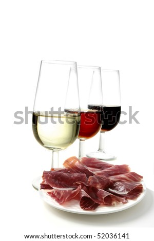 sherry wine and cured ham tapas