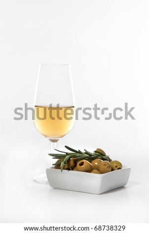 sherry wine and olives typical from the south of Spain (Andalusia)