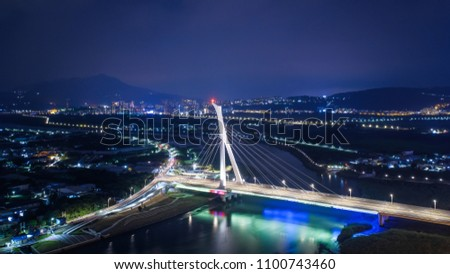 Shezi Bridge Aerial View - Famous landmark building of Taipei, Taiwan. #1100743460