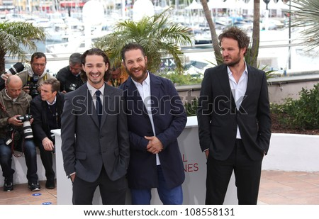 Shia Labeouf, Tom Hardy, Jason Clarke arriving for the 'Lawless' Photocall at the 65th Annual Cannes Film Festival, Cannes, France. 20/05/2012 Picture by: Henry Harris / Featureflash