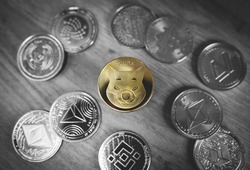 Shiba Inu or Shib coin centrally placed among bunch of crypto coins. Close-up, soft focus. Banner with golden Shiba token. Black and white except yellow, selective color.
