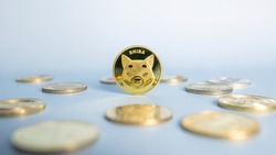 Shiba Inu or Shib coin standing centrally placed among bunch of crypto coins on blue background. Close-up, soft focus. Banner with golden Shiba token.