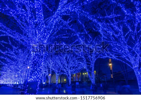 "Shibuya Blue Cave winter illumination festival, beautiful view, popular tourist attractions, travel destinations for holiday, famous romantic light up events in Tokyo, Japan. Translation : ""Blue Cave"" #1517756906"