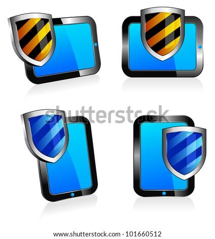 Shield antivirus Tablet 3D and 2D - digital shield concept - Raster Version