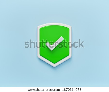 Shield Check Mark Icon isolated. minimal symbol. 3d rendering