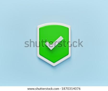 Shield Check Mark Icon isolated. minimal symbol. 3d rendering Сток-фото ©