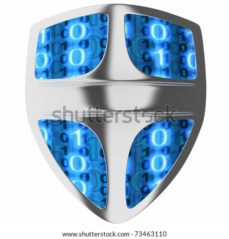 Shield computer, abstract (done in 3d, isolated)