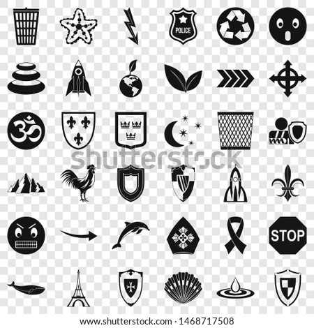 Shield emblem icons set. Simple style of 36 shield emblem icons for web for any design