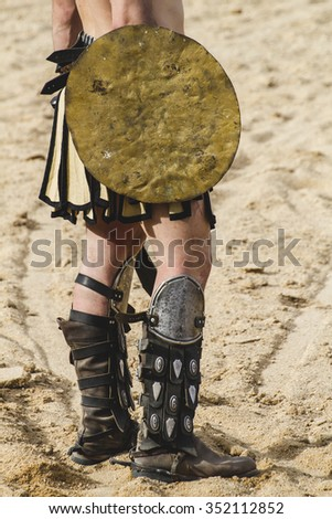 Shield, gladiator fighting in the arena of Roman circus