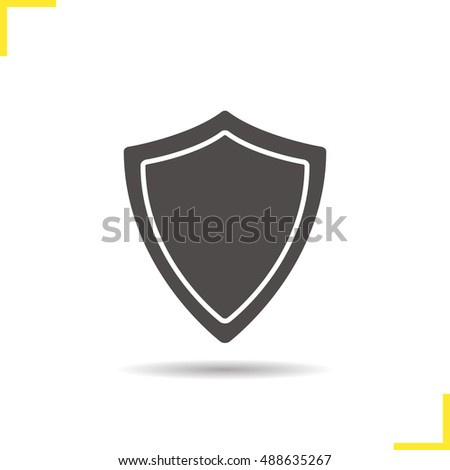 Shield icon. Drop shadow silhouette symbol. Protection shield. Raster isolated illustration