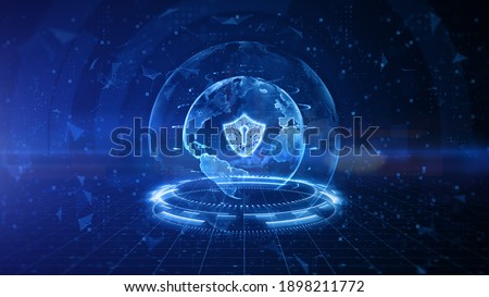 Shield Icon of Cyber Security Digital Data, Digital Data Network Protection, Global Network 5g High-Speed Internet Connection and Big Data Analysis Future Background Concept. 3D Rendering