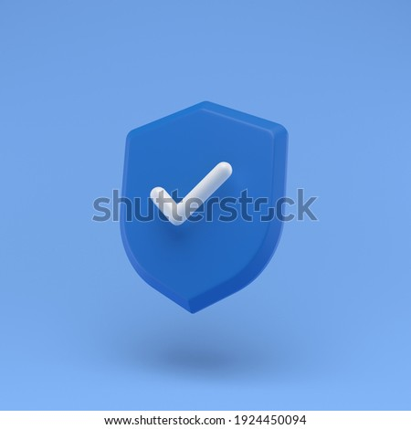 Shield protected icon with check simple 3d illustration on pastel abstract background. minimal concept. 3d rendering